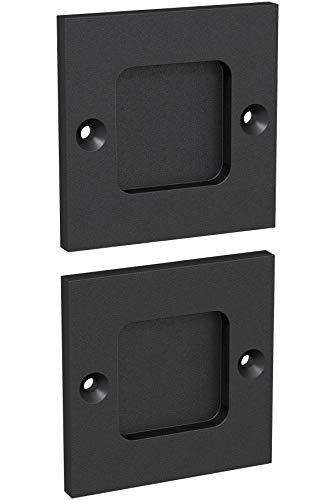 "Tibres | Finger Pulls for Closet Door | 2.5"" Square Sliding Door Pulls Handles | Flush Pulls for Pocket Door | Matte Black | Set of 2"
