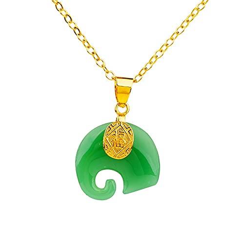 SWAOOS Bendición Elefante tótem Collares de Diamantes de imitación para Mujeres Hombres Puro 24K Collar de Cadena de Oro Cristal Gargantilla Accesorios joyería Femenina