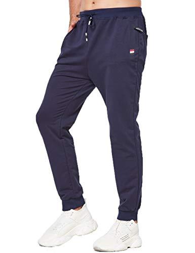 Tansozer Jogginghose Herren Baumwolle Sommer Dünn Lang mit Reißverschluss Taschen Blau L
