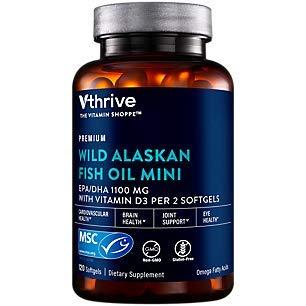 Premium Wild Alaskan Fish Oil Minis with Vitamin D EPA/DHA 1,100 MG (120 Softgels)
