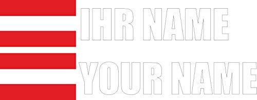 INDIGOS - Aufkleber - Österreich - Schrift weiß - Folie - Auto, Ordner, Motorrad, Fahrrad, Wand, Tür, Kühlschrank usw - 90x18 mm - Flagge Name individuell personalisiert
