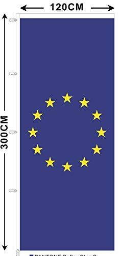 BGFint EU Flagge 120x300 cm Europa Fahne Stoff 110g/qm für Fahnenmasten mit Ausleger