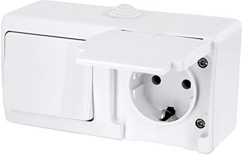 Presa non incassata per ambienti umidi, interruttore on/off IP54 - tutto in uno - cornice + inserto + copertura (serie G1, colore: bianco puro).