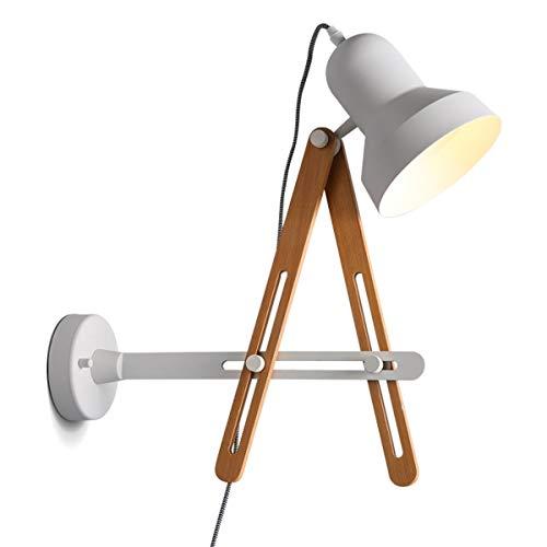 YINGGEXU Lámpara de Pared de Aplique de la Pared de la Vendimia nórdica Lámpara de Pared Moderna de Madera Maciza de Hierro Ajustable de la Frontera de Noche Balcón Escalera, Blanca Decorativo