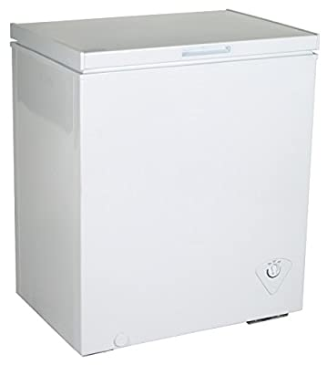 Koolatron KTCF155 5.5 Cubic Foot (155 Liters) Chest Freezer with Adjustable Thermostat - CFC Free with Compressor Cooling, Removable Storage Basket, White