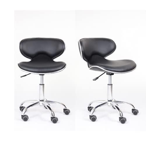 GOLDFAN Silla de oficina de poliuretano, con ruedas, altura regulable, con ruedas, para casa y trabajo, color negro, 2