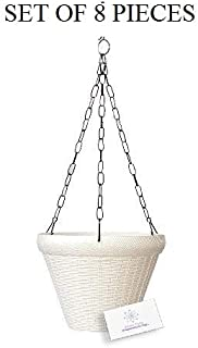 Unique Plastic Hanging Pot with Metal Chain (White, Pack of 8)