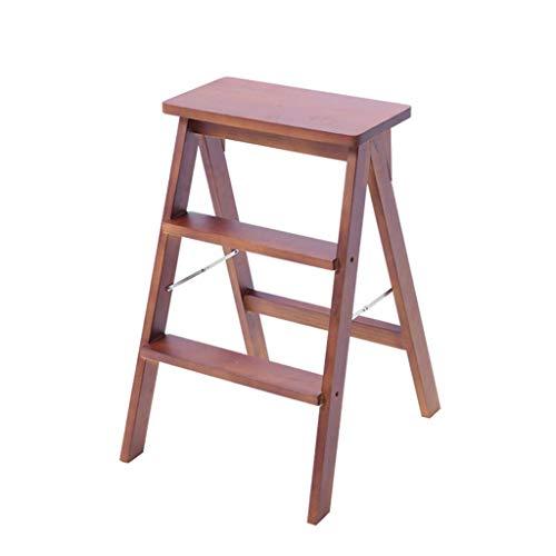 Taburetes de bar Silla de comedor Sillones Escaleras de mano Taburete de escalera de madera Multifunción Plegable Doble uso Antideslizante Biblioteca para el hogar 3 escalones 150 kg Capacidad (r