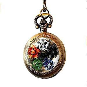 Elements Pentagram Wicca orologio da tasca collana Wicca gioielli Occult Charm