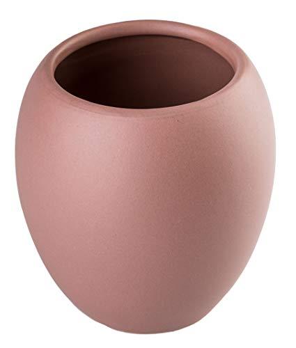 KADAX Badezimmerbecher, Zahnputzbecher aus Keramik, Badezimmer Cup 425ml, Zahnbürstenhalter, Wasser Cup ⌀ 7 cm, 9,5 x 10,5 cm, mattiert, Serie Wenus (Rosa)