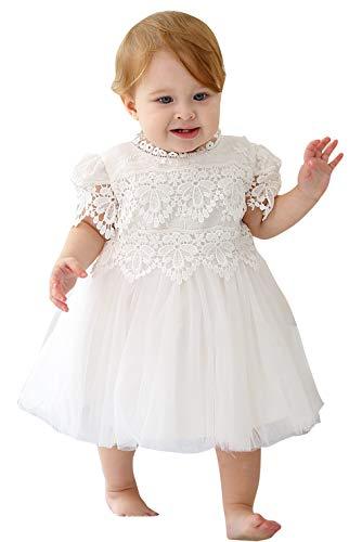 Happy Cherry Baby Mädchen Prinzessinenkleid Blumenmädchen Hohlbauweise Spitze Weich Besondere Anlässe Taufkleider Weiß 16-18 Monate