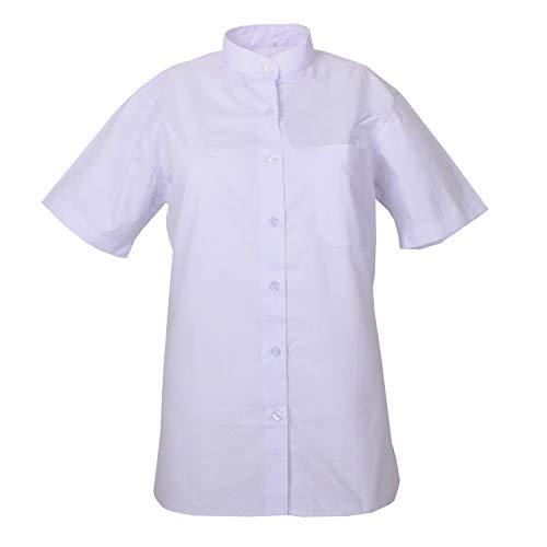 MISEMIYA - Camisa Uniforme Camarera SEÑORA Cuello Mao Mangas Cortas MESERO DEPENDIENTA Barman COCTELERA PROMOTRORAS Blusa - Ref.8271B - M, Blanco
