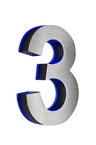 Numéro de rue'7,6cm en acier inoxydable 3d lumineux env. H18cm/180mm LED bleue (12V) sans un transformateur
