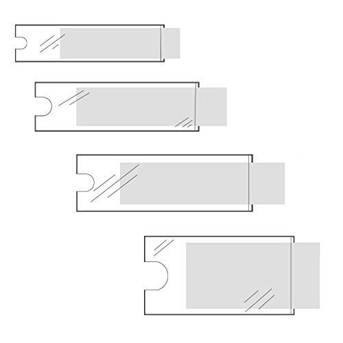 Klebeshop24 BESCHRIFTUNGSFENSTER SELBSTKLEBEND   Format + Menge wählbar   Transparent   Schmale Seite offen   Selbstklebetaschen für Einsteckschilder   Mit Daumenausstanzung ~ 25 x 75 mm 120 Stück