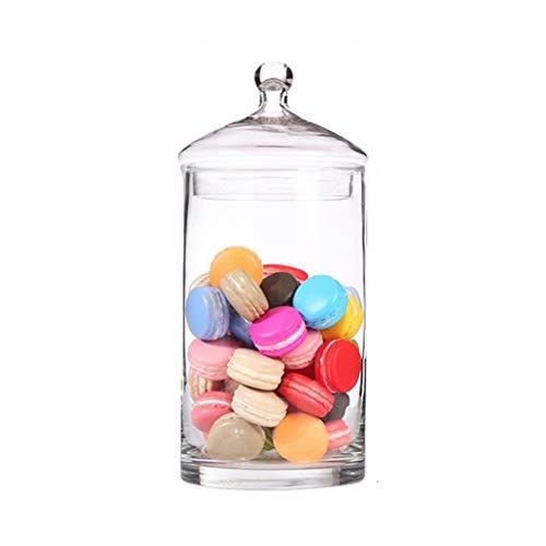 PETAAA feestdagsdecoratie glazen fles met deksel, woonkamer chocoladekoekjes-container apothecary jars ballzaal snoepjes hoogte: 28/33/38 cm