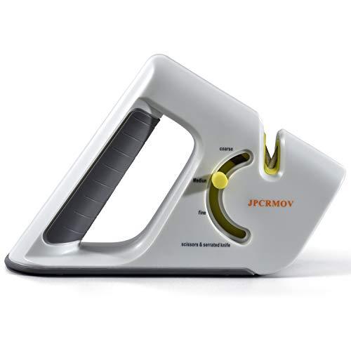 JPCRMOV Affilacoltelli, Affilacoltelli manuali a 4 stadi regolabile, Sistema di affilatura coltelli 5-in-1 con acciaio al tungsteno, Asta diamantata, Pietra ceramica per coltelli da cucina, Forbice
