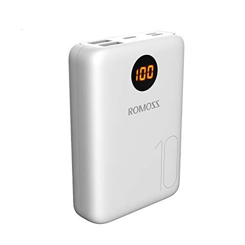 Romoss Mini Power Bank 10000mAh Leggera, Caricatore Portatile con 2 Uscite e 3 Ingressi di Tipi Compatibile Universale con Tutti i Telefoni