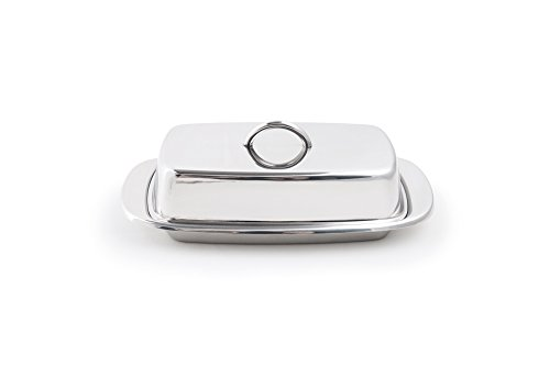 Fox Run Stainless Steel Double Covered Butter Dish with Lid and Handle