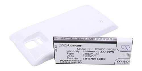 vhbw batería extendida 6000mAh (3.85V) para teléfono móvil Smartphone Samsung Galaxy Note...
