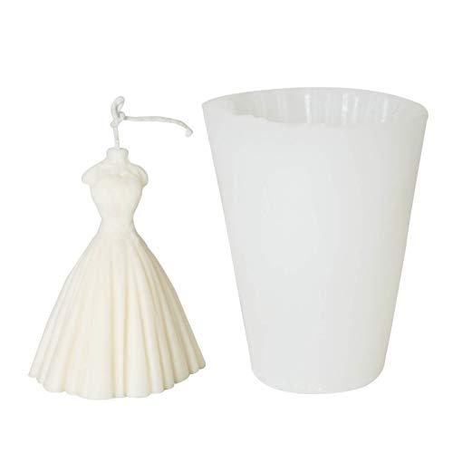 Seifenbasis Brautkleid Kerzenform DIY Gips Gips Gipsform Duft Kerze Silikonform Für Hochzeitsgeschenke Silikon Kerze Harz Formen (Color : White)