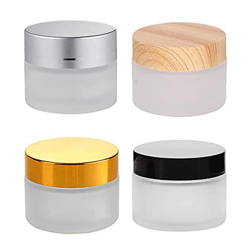 Contenedores para Cosmetica, 4 Piezas Envases para Cosmetica, Tarros de Cristal Cosmetica con Tapa, Tarro Crema Viaje, Vidrio Esmerilado, para Cosméticos, Cremas, Lociones, Aceites Esenciales(50g)