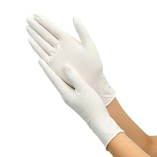 Pika Log Bertech Class 50PCS White Anti Virus Infection Disposable Latex Gloves White Non-Slip Acid and Alkali Laboratory Rubber Latex Cleanroom Compatible Powder Free Textured Nitrile Gloves (XL)