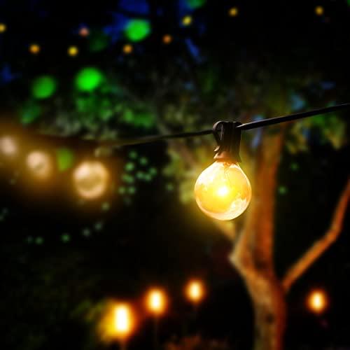 LAVUR Home & Living Lichterkette - G40 Lichterkette Glühbirnen 7,5m mit 7W - 25 Glühbirnen - 3 Ersatzbirnen - IP44 wasserdicht - um maximal 3 Stränge erweiterbar