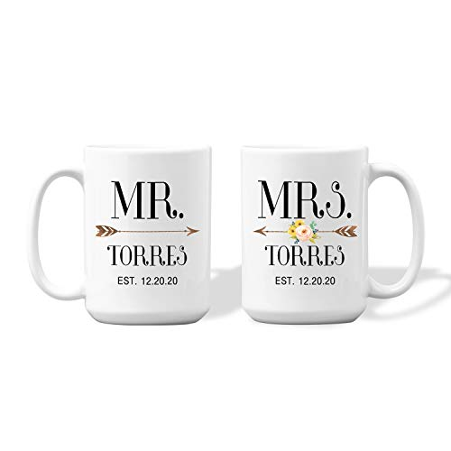 WETER Personalized Mr and Mrs Coffee Mug, Custom Wedding Mug Set, Engagement Wedding Gifts for Couples Husband Wife (2.4 Mr and Mrs)
