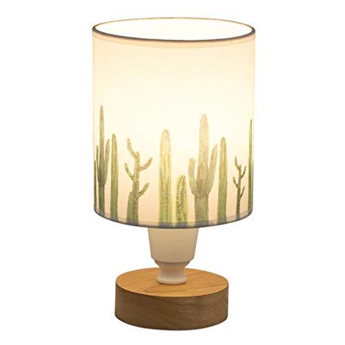 QFF - Lámpara de mesa moderna con personalidad, lámpara de mesa de madera maciza con cactus impresos, E27, bajo consumo, luz nocturna cálida (tamaño: 12 x 245 cm)