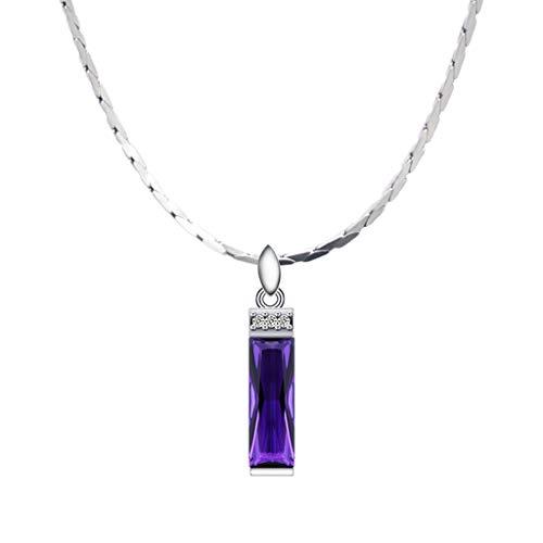 zlw-shop Collar de Mujer Sintética Cadena Amatista Colgante Collar Femenino clavícula Plus 925 Collar de Plata de 16/18 Pulgadas Collares Pendientes (Size : 40cm)
