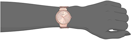GUESS Crystal Accented Rose Gold-Tone Stainless Steel Mesh Bracelet Watch. Color: Gold-Tone (Model: U1083L2)