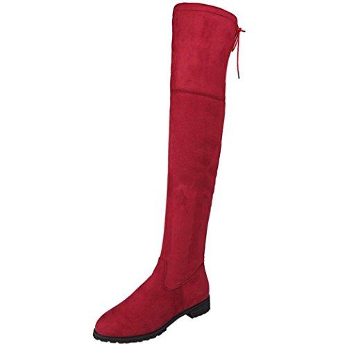 BBsmile Fibbia delle donne delle donne sottili sopra i pattini piani del pattino del ginocchio (42, rosso)