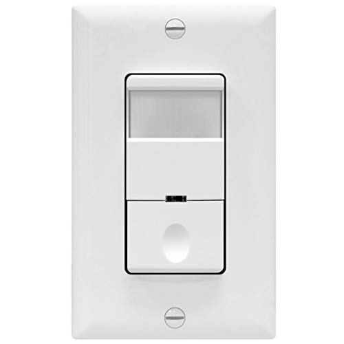 TOPGREENER Motion Sensor Light Switch, PIR Occupancy Sensor, 4A, 500W 1/8HP, Neutral Wire Required, Single Pole, TDOS5, White