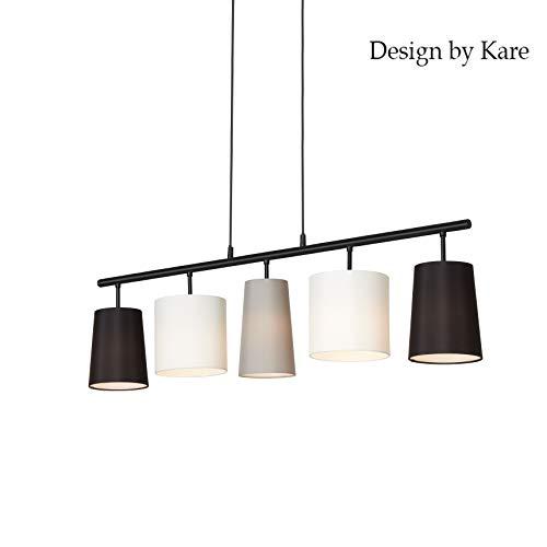 Briloner Leuchten Pendelleuchte, Pendellampe 5-flammig, 5x E14, Textilschirm schwarz, weiß,grau, Design by Kare
