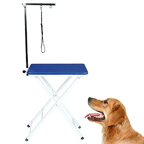 Mesa De Aseo para Perros Plegable, Superficie De Goma Antideslizante, Puede Ser Utilizada por Perros, Gatos Y Otras Mascotas Grandes, Medianos Y Pequeños,Azul