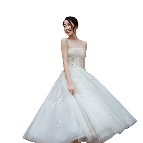 roroz Damen Brautkleider Hochzeitskleider Standesamt Lang, Hochzeitskleider Lang Prinzessin Damen TüLl KnöChelläNge, Ballkleid Hochzeit Abendkleider Prom Party,White-XL