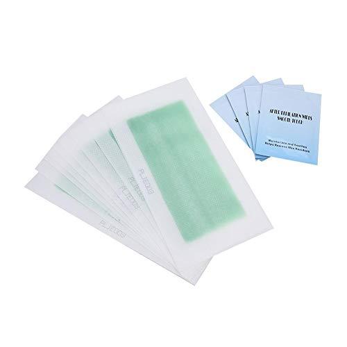 Bandes de cire, 20 feuilles (40 pcs) Épilation Papier de cire Hommes Femmes Unisexe Épilateur Papier Épilation Set avec 4 pièces de coton de nettoyage