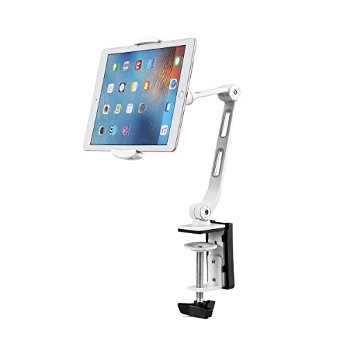Suptek Aluminum Tablet Desk Mount Stand 360° Flexible Cell Phone Holder for iPad, iPhone, Samsung, Asus and More 4.7-11 inch Devices, Good for Bed, Kitchen, Office (YF208BW)