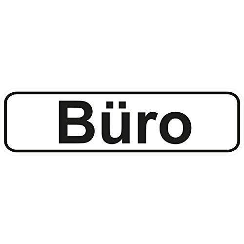 """Büro"" Aufkleber / Türaufkleber/ Türschild/ PVC Hinweisschild 180mm x 50mm Weiß/Schwarz selbstklebend"