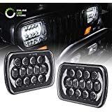 7x6 5x7 LED Headlights H6054 H5054 [CREE LED] [Black Finish] [DRL Built-In] [H4 Plug & Play] [Low/High Beam] - Compatible with JEEP Wrangler YJ Cherokee XJ Head Light For H6054LL 69822 6052 6053