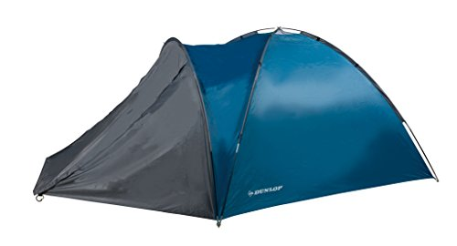 Dunlop tent voor 2-4 personen, koepeltent camping outdoor tent, blauw/grijs