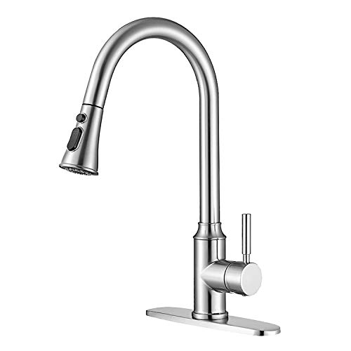 Brushed Nickel Kitchen Faucets with Pull Down Sprayer, Single Handle High Arc Pull Out Stainless Steel Kitchen Sink Faucet, Hot & Cold Mixer Kitchen Taps with Deck Plate for 1 or 3 Hole