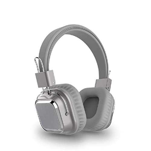 WUHUAROU Headphone Wired Wireless Headphones Foldable Stereo Headset with Mic Support TF Card (Color : Light gray)