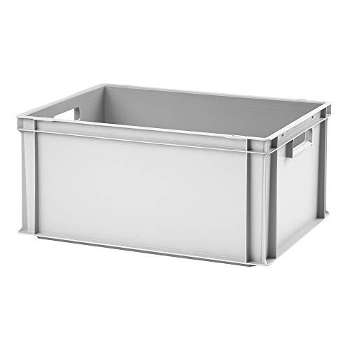 Euro-Stapelbox EB-628, 600x400x280 mm (LxBxH), verstärkter Rippenboden, grau ähnl. RAL7001, aus Polypropylen, lebensmittelecht, 2 Handgriffe, ca. 54 Liter Vol.