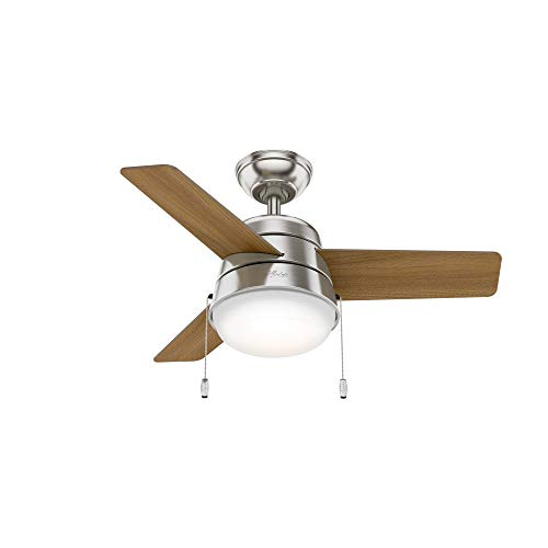 """Hunter Aker Indoor with LED Light with Pull Chain Control, 36"""", Brushed Nickel"""