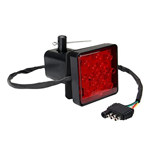 Timagebreze Receptor de Enganche de Remolque de 15 LED con Lente Roja con FuncióN EstroboscóPica Luz Trasera de Freno para CamióN SUV Adaptador de Remolque de 2 Pulgadas Agujero