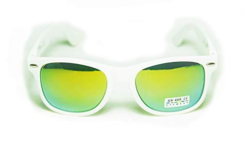 FIKO WAYFARER - Gafas de sol multicolor con efecto espejo, unisex, estilo vintage, unisex