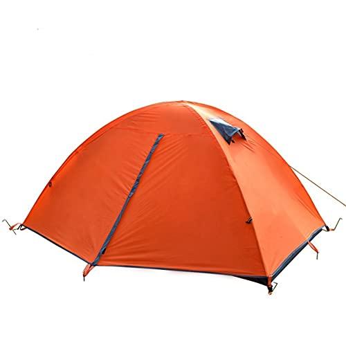 JSJJARF Tienda de campaña Mochila Ligera Camping Tienda de campaña Doble Capa Fibra de Vidrio 2 Persona Impermeable Viaje portátil Tienda de Viaje con Bolso (Color : Orange)