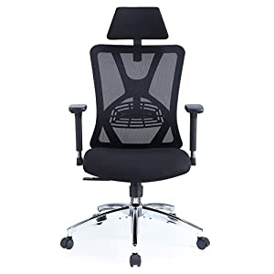 【Adjustable Mesh Chair】You can adjust lumbar support height and depth; headrest height and angle; armrest height, angle, forward & backward; seat cushion height; tilting angle up to 130°and rocking resilience to your personal most comfortable positio...