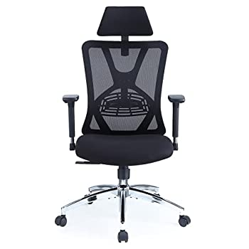Ticova Ergonomic Office Chair - High Back Desk Chair with Adjustable Lumbar Support & 3D Metal Armrest - 130°Reclining & Rocking Mesh Computer Chair with Thick Seat Cushion & Rotatable Headrest